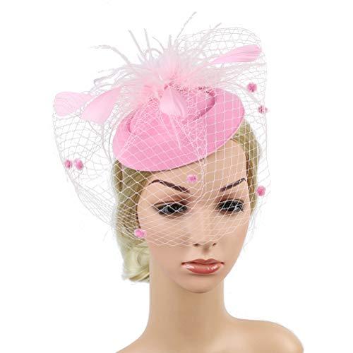 Lurrose Fascinators Hoofdband Veer Sluier Thee Party Hoeden Vintage Fascinators Haaraccessoires voor Bruiloft Party 17 * 17 * 5cm roze