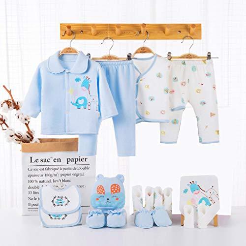 shiftX4 Set de regalo para recién nacido, 18 piezas, suave, 100% otoño, invierno, cálido, traje de bebé, sombrero de bebé, babero, para ducha, regalo de 0 a 3 meses