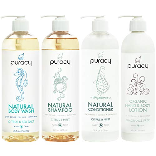 Puracy Organic Haircare and Skin Care Set, Natural Shower Gel, Shampoo, Conditioner, Moisturizer, 60 Ounce (4-Pack)