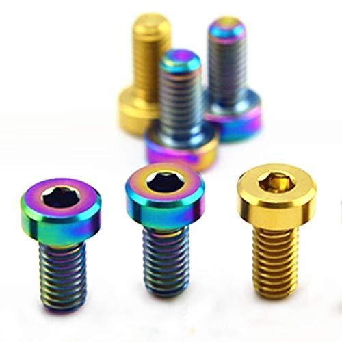 AILIFE 2/4 tornillos de titanio M6 x 12 mm, tornillo de freno de aceite, tornillo de aceite con agujero de engrasado, pernos Ti de color para bicicleta de montaña