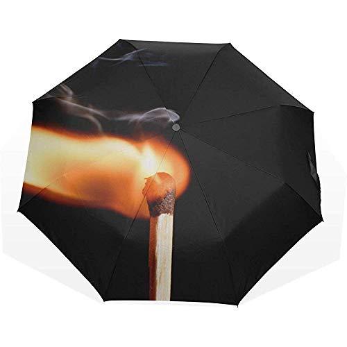 Isolierte Flammen Brennen Streichhölzer Anti Uv Compact 3-Fach Kunst Leichte Faltschirme Winddichte Regenschirme