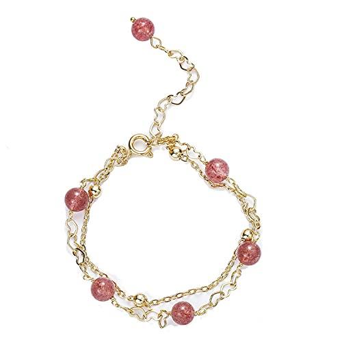 Pulsera de cristal doble Reclutamiento Pulsera de flor de melocotón Joyería Cadena de corazón de amor Pulsera de cristal de fresa