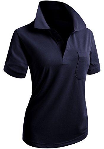 CLOVERY Women's School Uniform Short Sleeve Basic Polo Shirts Navy US L/Tag L