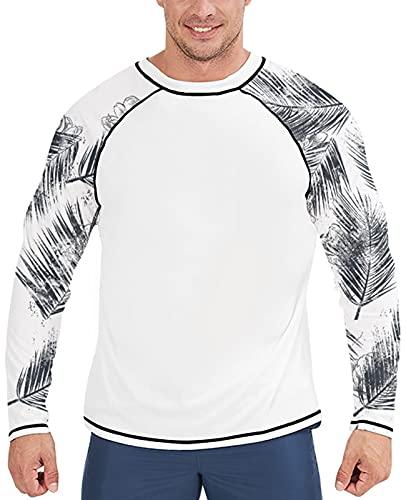 Goodstoworld Men's UPF 50+ White Long Sleeve Rash Guard Shirts UV/SPF Fishing Hiking Swim T Shirt Water Surf Swimming Tops Tee