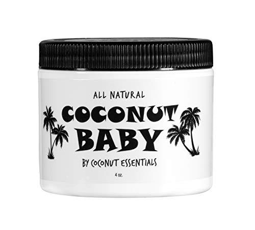 Coconut Baby Oil Organic Moisturizer - for Hair and Skin - Cradle Cap Treatment, Eczema, Psoriasis - Massage, Sensitive Skin, Diaper Rash, Stretch Marks - with Sunflower & Grape Seed Oils - 4 fl oz