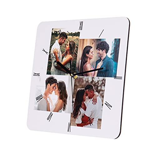 Wanduhren Personalisierte Foto Wanduhr mit 4 Bildern Benutzerdefiniert Wanduhren für Familie Mutter Geburtstag Hochzeitstage Dekorative Geschenk