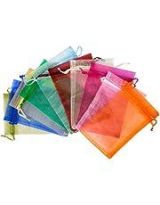 QLOUNI 100 sztuk woreczków z organzy, 10 x 15 cm, 10 kolorowych woreczków na biżuterię, do pakowania prezentów