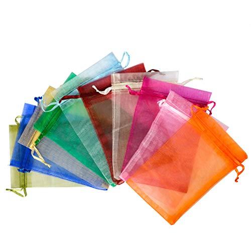 QLOUNI 100 Bolsitas de Organza Multicolores de Regalo Ideal para Decoración de la Boda,Dulces,Regalo,etc (10 * 15cm)