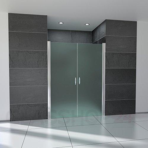 glasshop24 Duschtür 100 cm - 98-103cm verstellbar, Höhe: 180 cm, Duschtür Nische aus 6mm Sicherheits-Glas, Nano, Milchglas - Nischentür, Duschtüre, Duschabtrennung, Falttür, Pendeltür