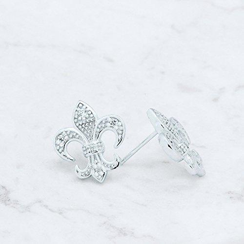 Spoil Cupid 925 Sterling Silver Cubic Zirconia Fleur De Lis Lily Flower Stud Earrings