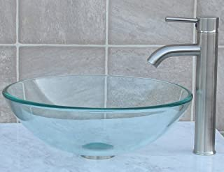 Bathroom glass Glass Vessel Sink & Brushed nickel Faucet Combo & brushed nickel Pop Up Drain Mounting Ring (R12N3)