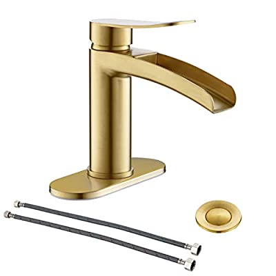 Single Handle Waterfall Faucet for Bathroom Sink in Brushed Gold Finish, with 4-Inch Deck Plate,Metal Pop Up Drain Assembly and cUPC Water Supply Lines by Phiestina,NS-SF01-BG