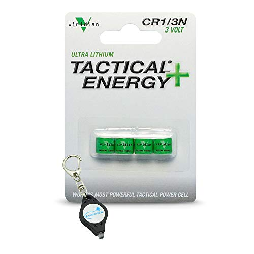Viridian CR1/3N 3 Volt Lithium Battery (4-Pack) for Flashlights, Laser Sights, Tools Bundle with a Lumintrail Keychain Light