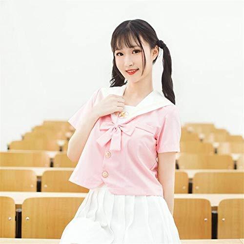CLJ-LJ Pink JK Uniformes Venta de Anime Uniforme Escolar Cosplay Disfraz Japonés Chica Cosplay Sailor Trajes con Lazo Rosa Puro (Color: Juegos de manga corta, Tamaño: M)