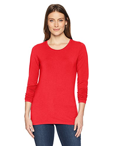 Amazon Essentials Women's Classic-Fit Long-Sleeve Crewneck T-Shirt, Red, Large
