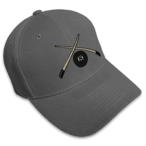 Speedy Pros Baseball Cap Pool Cues Embroidery Sports Billiards Acrylic Hats for Men & Women Strap Closure Dark Grey Design Only