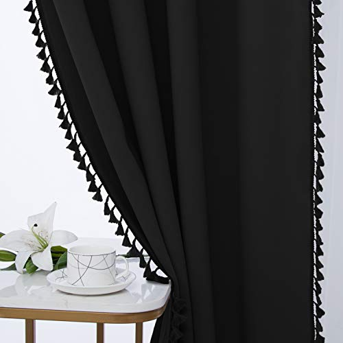 WONTEX Tassel Blackout Curtains for Bedroom and Living Room, 52 x 63 Inch Long, Black – Thermal Insulated/ Privacy Protection Grommet Curtain Panel, Window Curtains Set of 2