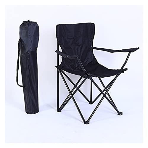 LDH Silla Plegable Camping, Sillas Jardin Exterior, Silla de Playa Ligera con Titular de La Taza Ideal para Playa, Pesca, Fiestas, Viajes y Barbacoa (Color : Negro)