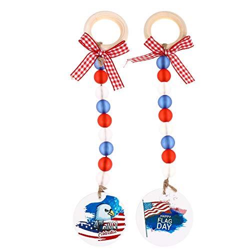 TOYANDONA 2pcs Independence Day Beads Tassel Colgantes de Pared Colgando Adornos Decoración del hogar