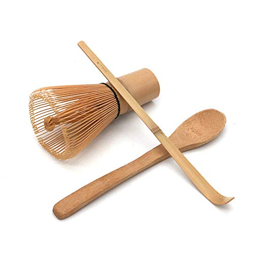 POFET Juego de té japonés hecho a mano de bambú Matcha Tea Batidor de té, cuchara de té y cuchara de té pequeña, 3 unidades/juego