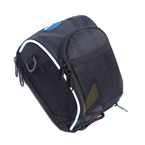Quzzion Bike Handlebar Bag Waterproof Front Bag Bicycle Storage Bag Foldable Bike Basket Bag Cycling Accessories with Shoulder Straps, Buckle, Rain Cover for Road Mountain MTB