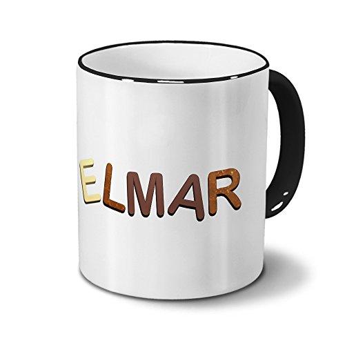 printplanet Tasse mit Namen Elmar - Motiv Schokoladenbuchstaben - Namenstasse, Kaffeebecher, Mug, Becher, Kaffeetasse - Farbe Schwarz