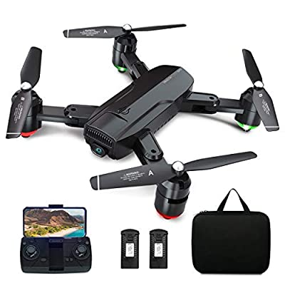 Dragon Touch GPS Drone with Camera for Adults, 1080P HD FPV Live Video with Background Music, Auto Return Home, Follow Me, Tap Fly, Foldable RC Quadcopter with 2 Batteries and Carrying Case- DF01G