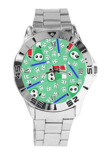 Süße Zahnpasta grüne Armbanduhr Quarz Silber Zifferblatt Classic Edelstahlband Damen Herren Armbanduhr
