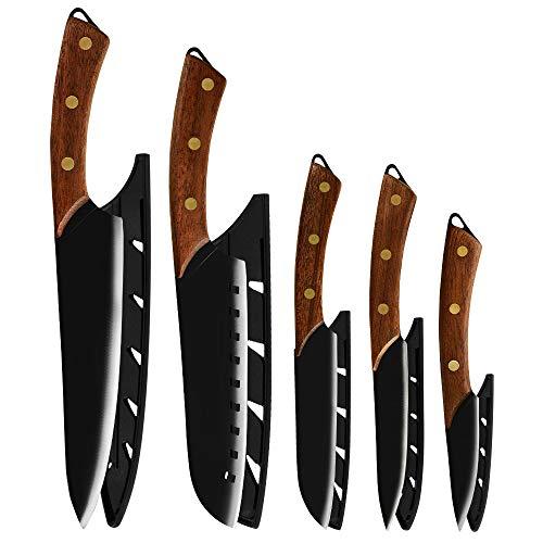 cocina 5 piezas Hecho a mano Cuchillos de cocina japoneses Set Sharp Blade Paring Utilidad Cortar Santoku Chef Cuchillo Juego de herramientas de cocción con cubierta cuchillos (Color : 5 Pcs Set)
