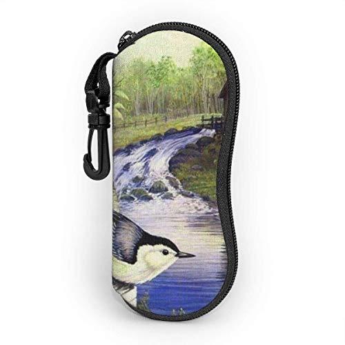 AOOEDM Estuche para gafas suave con mosquetón, Estuche portátil para gafas de sol Spring Mill Birds