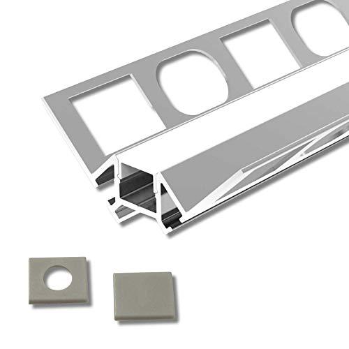 TARA (TA) Fliesenprofil Inneneck Aluminium 2m eloxiert | Fliesenleiste für Led Streifen bis 1cm Breite | U-Profil Fliesenschiene + Acryl Abdeckung milchig weiß (opal) + Endkappen |Aluprofil belastbar