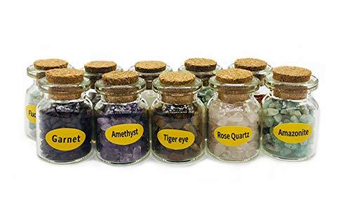 Zungtin 9 Stück Mini Glas Wunschflaschen Trommelsteine Kristall Chips Chakra Healing Reiki Stein Set 10 Stück Mineralproben.