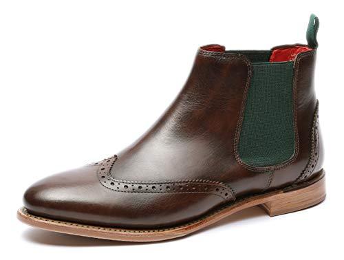 Gordon & Bros Damen Chelsea Boots Paris 5776,rahmengenähte,Flexible Frauen Stiefel,Halbstiefel,Stiefelette,Bootie,Goodyear Welted,Schlupfstiefel,DK.Brown,EU 40