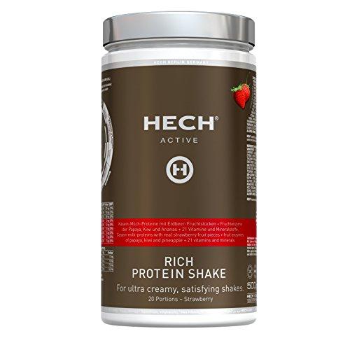HECH ACTIVE Rich Protein Shake Erdbeere, Eiweißpulver für Muskelaufbau, mit Whey-Proteinen, Vitaminen & Mineralstoffen, extra cremige Konsistenz, 500 g