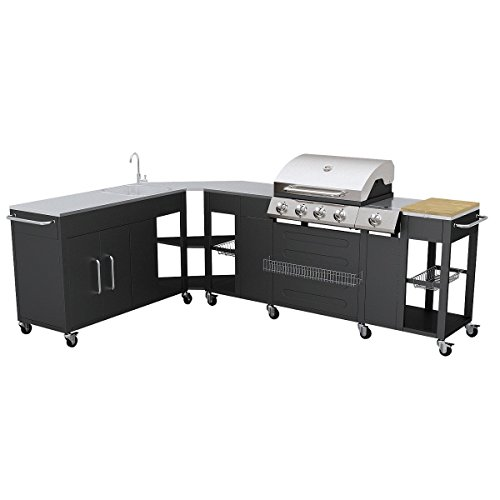 vidaXL GAS BBQ BARBECUE OUTDOOR KITCHEN STAINLESS STEEL 5 BURNERS SIDE BURNER