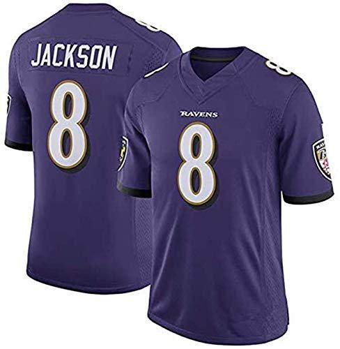 Jackson # 8 Herren American Football Trikot Baltimore Ravens, Rugby Unterstützer Trikot Unisex Adult Rugby Trikot Offizielles Rugby Heimtrikot purple-2XL