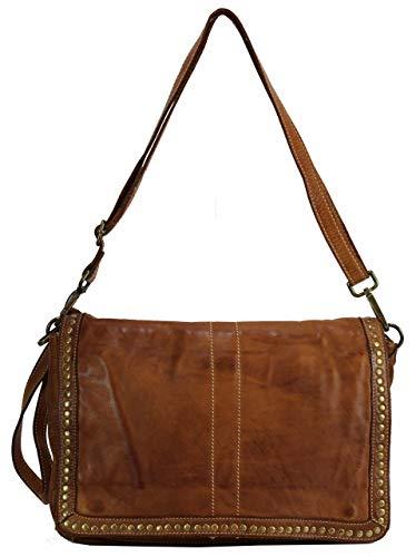 BZNA Bag Gil Cognac Italy Designer Clutch Umhängetasche Damen Handtasche Schultertasche Tasche Leder Shopper Neu