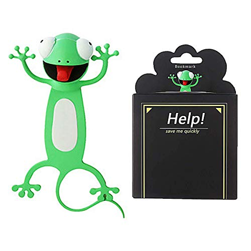 Wacky 3D Cartoon Animal Bookmarks Personalized Funny Bookmark, Book Marks for Kids (Gecko)