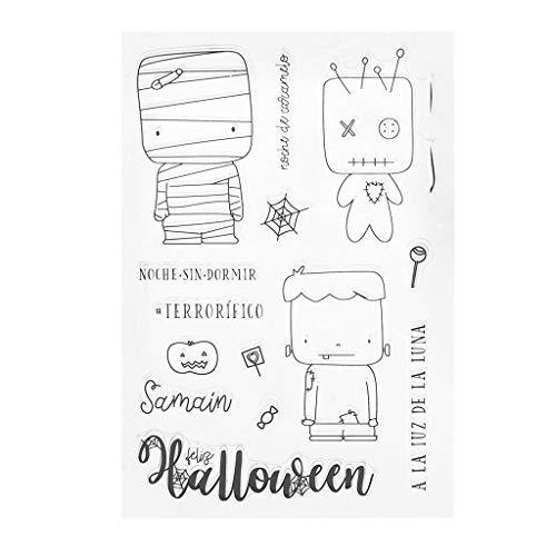FlYHIGH Halloween Silicona DIY Sellos Claros Scrapbooking para Álbum de Fotos Tarjeta de Papel Arte Artesanía Decoración