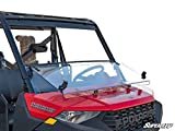 SuperATV Scratch Resistant 3-in-1 Flip Windshield for Polaris Ranger XP 1000/1000 / XP 900 -See Fitment | 1/4' Thick Polycarbonate 250X Stronger than Glass | USA Made! | Set to Full, Flip, or Half!