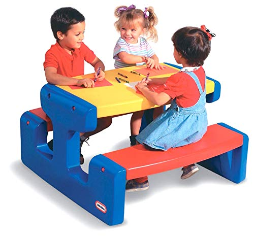 Little Tikes Tavolino da Picnic Grande - Fino a 6 Bambini - Per Fare i Compiti, Colorare e Pranzare all'Aperto - Colori Primari