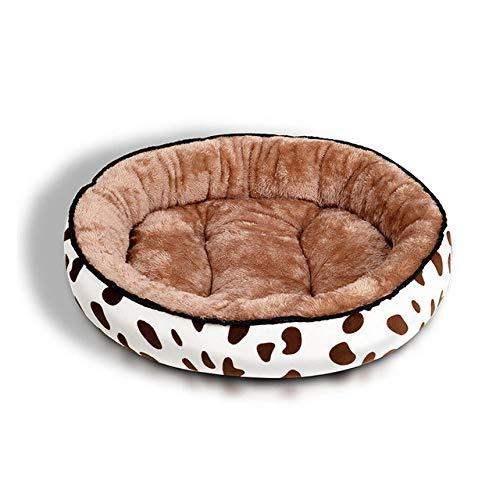 Cama para Mascotas, con una Alfombra Suave para Mascotas, Cama para Gatos Perros, Cama Suave de Felpa de tamaño Mediano -Café de Vaca_S-40 * 30cm