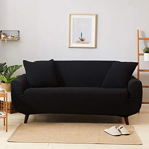 Funda de sofá de Alta Elasticidad,High Elastic Sofa Cover, Thick Full-Cover Sofa Cover, Living Room Sofa Cover, for Living Room Sofa Cover Sofa Towel-Black_90-140