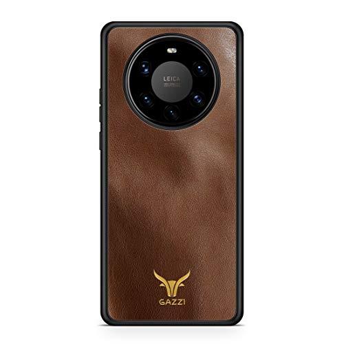 GAZZI Lederhülle für Huawei Mate 40 PRO Hülle Hülle Schale Backcover Handyhülle Schutzhülle Echt Leder, R&umschutz, Flexible Schale (Vedette Cognac Gold)