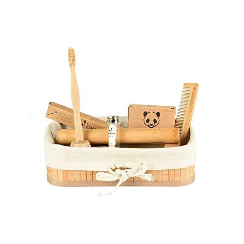 bambusliebe - Bambus Hygiene Set - mit Zahnbürste, Wattestäbchen, Zahnseide, Etui, Kamm & Zahnbürstenhalter