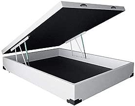 Base para Cama Box Casal Premium com Baú (45x138x188) Corino Branca