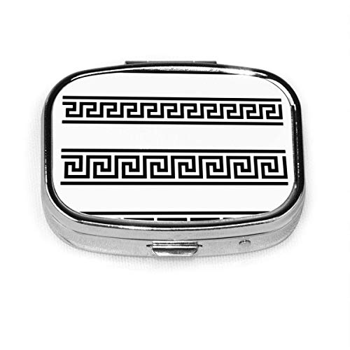 Antiguo griego Fret Key Design Custom Fashion Silver Square Pill Box Medicina Tablet Holder Cartera Organizador Estuche para bolsillo o monedero Organizador de vitaminas Caja decorativa
