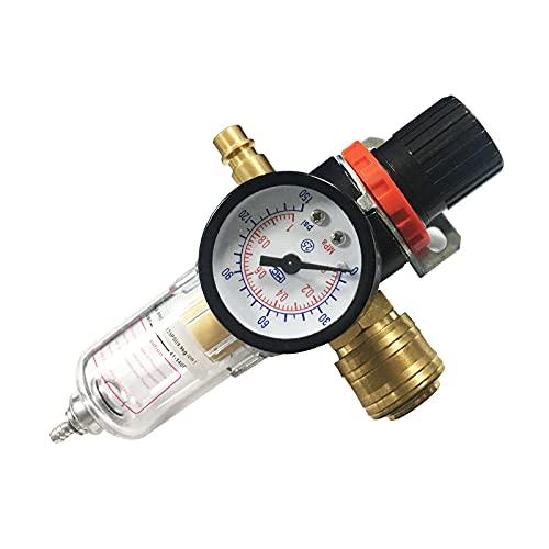 ToKinCen Druckluft Wartungseinheit Druckminderer 1/4 zoll,Druckluft Regler Kompressor Zubehör mit Wasserabscheider und Schnellkupplungen für Druckluft Kompressor Filter und Luftwerkzeuge