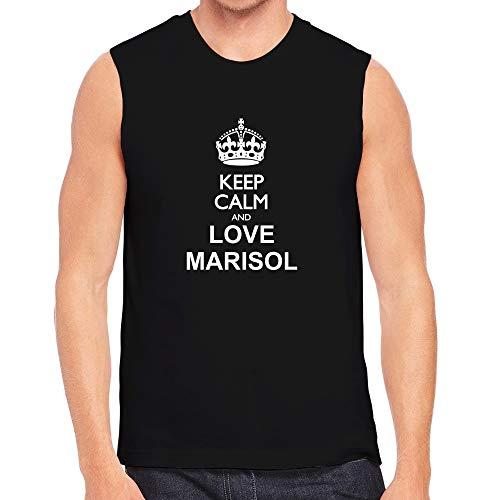 Teeburon Keep Calm and Love Marisol Sleeveless T-Shirt Black