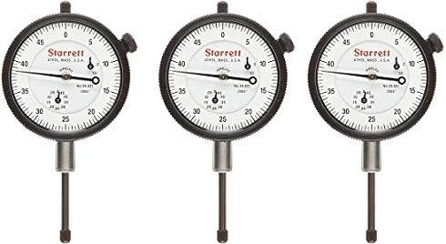 "popular Starrett wholesale 25-631J Dial Indicator, 0.375"" popular Stem Dia, Lug-on-Center Back, White Dial, 0-50 Reading, 2.25"" Dial Dia, 0-1"" Range, 0.0005"" Graduation (3) outlet online sale"